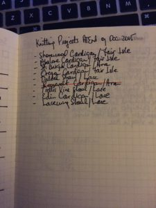 List of Knitting Projects